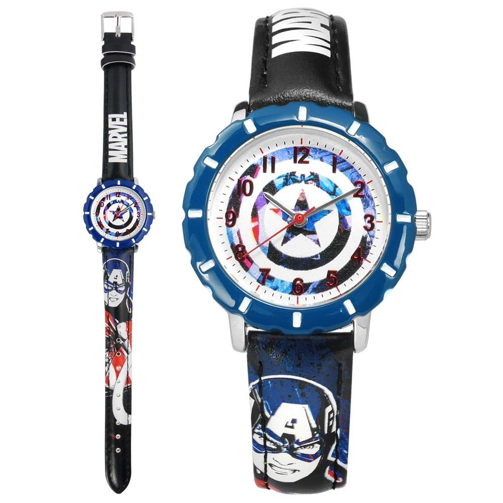 Disney 迪士尼 漫威系列 美國隊長 兒童卡通 皮革手錶-白x藍框x黑/31mm