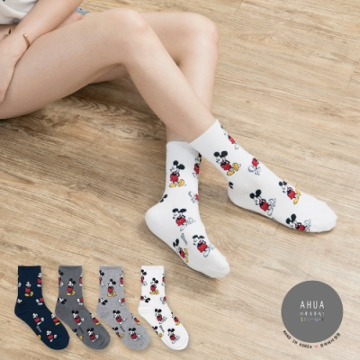 阿華有事嗎 韓國襪子 迪士尼滿版米奇中筒襪  韓妞必備長襪 正韓百搭卡通襪