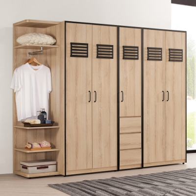 Boden-卡尼特8.2尺工業風多功能衣櫃組合(轉角衣櫃+開門衣櫃)-246x57x197cm