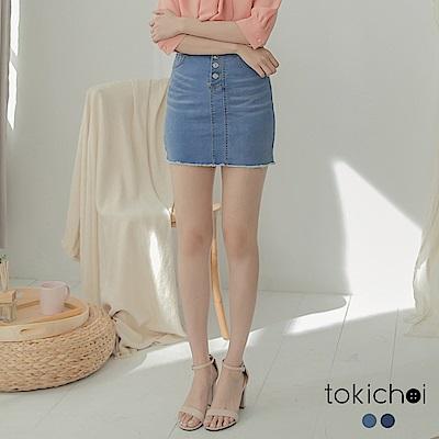 東京著衣 女人休閒風彈力刷色包臀牛仔短裙-S.M.L(共兩色)