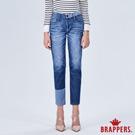 BRAPPERS 女款 Boy friend系列-拼色八分反摺褲-藍