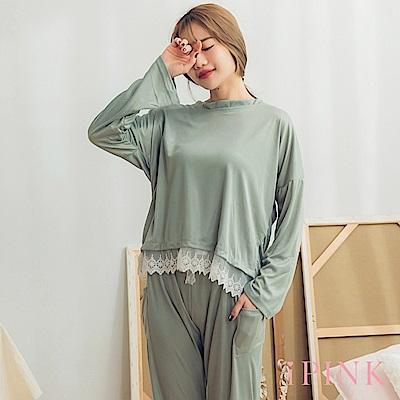 i PINK 純粹日記 舒適棉質長袖居家服睡衣套裝(綠)