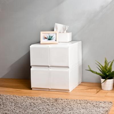 HOUSE 台灣製 純白無印風一層抽屜式收納箱 4入(附隔板) -1號特小栗子