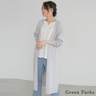 Green Parks 舒適長版素面針織罩衫
