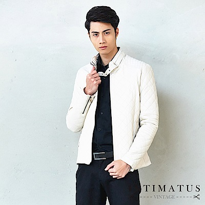 INTIMATUS 真皮 菱格質感防風鈕扣式設計鋪棉頂級小羊皮皮衣 紳士米白