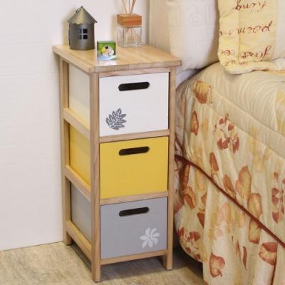 Asllie簡約三抽收納櫃-床頭櫃-電話櫃-邊櫃-免組裝-26x33x61cm