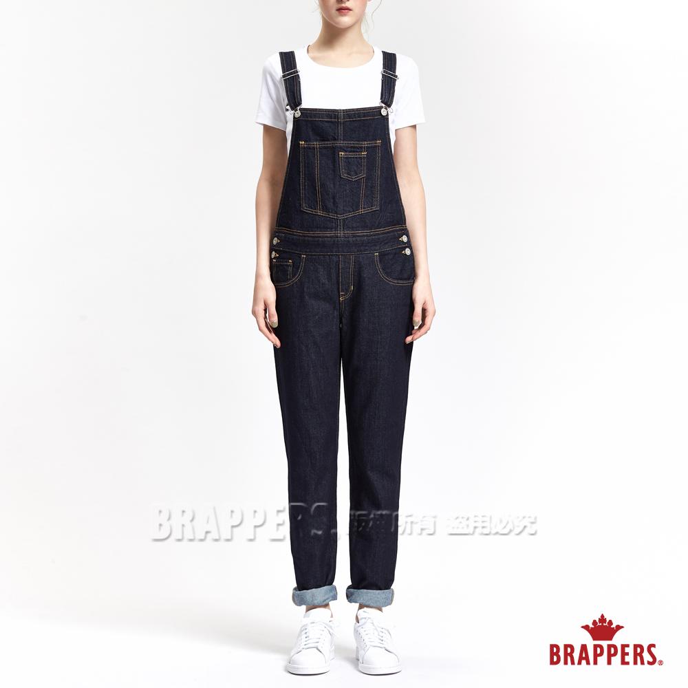 BRAPPERS 女款 Boy Friend 系列-女用中寬版吊帶長褲-藍