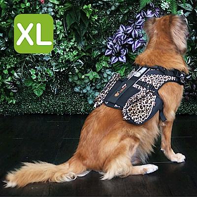 Crazypaws瘋狂爪子 時尚豹紋護胸XL號-寵物外出兩件式胸背帶/護胸