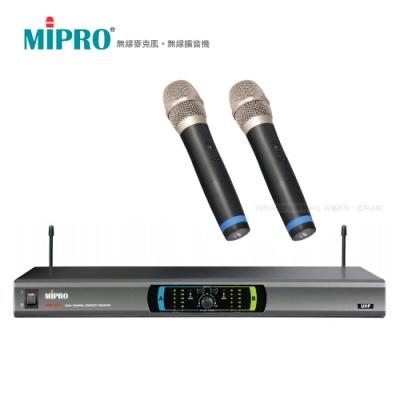 MIPRO 嘉強 MR-823 無線麥克風 1U雙頻道自動選訊 (雙手持麥克風)
