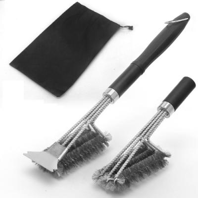 PUSH!廚房餐具用品不銹鋼燒烤清潔刷BBQ清潔工具烤爐烤架鋼絲刷D243