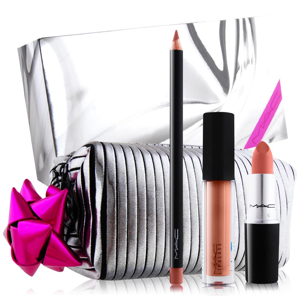 M.A.C HOLIDAY 節慶限量唇妝包#NUDE[專業唇膏+晶亮魔唇+唇線造型筆+包] @ Y!購物