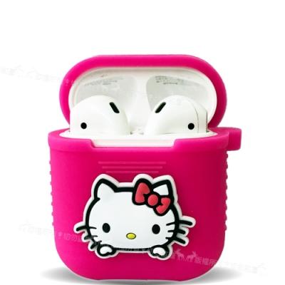 三麗鷗授權 Hello Kitty Apple Airpods 藍芽耳機盒保護套(凱蒂桃)