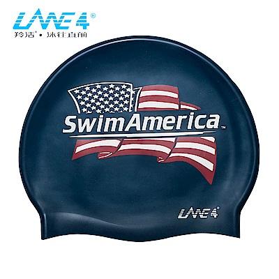 羚活 兒童矽膠泳帽 美國國旗 LANE 4  SILICONE CAP