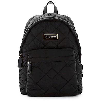 MARC JACOBS Crosby Quilt品牌金屬Logo尼龍菱格縫線後背包 黑色
