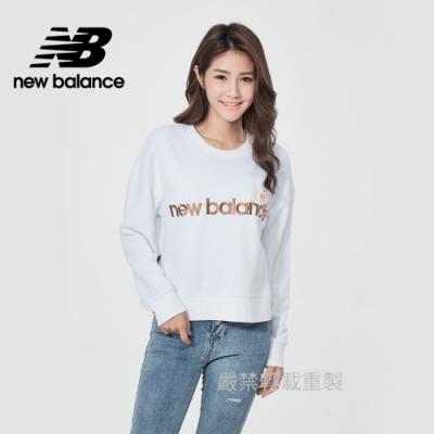 【New Balance】圓領短版長袖_女性_白色_AWT11510WT