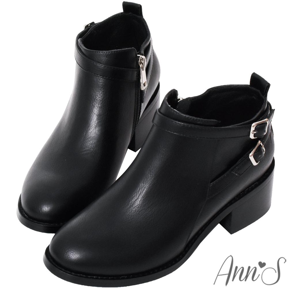 Ann'S好走首選-5cm交叉細扣帶粗跟短靴-黑(版型偏大)