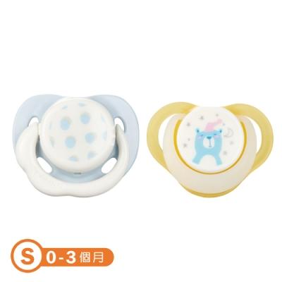 【康貝 Combi】日+夜用安撫奶嘴二入組S -圓點藍+夜夢熊(黃)