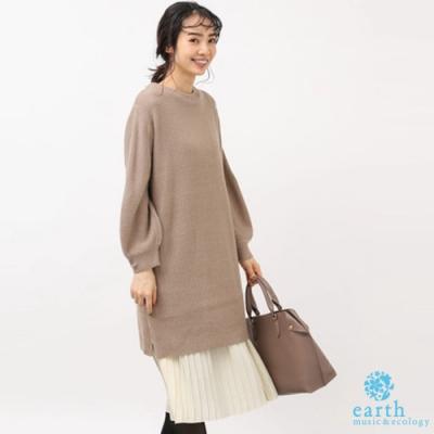 earth music 【SET ITEM】華夫格素面長版針織上衣+百摺背心洋裝