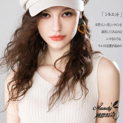 Mandy國際時尚 針織背心 性感冰絲V領肩帶露背無袖上衣(7色)