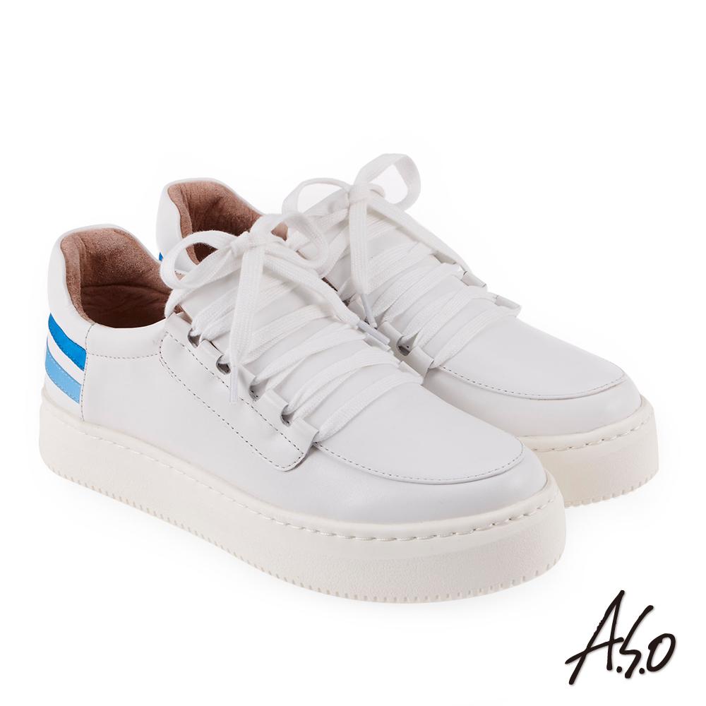 A.S.O 輕漾活力 牛皮綁帶舒適休閒鞋 白