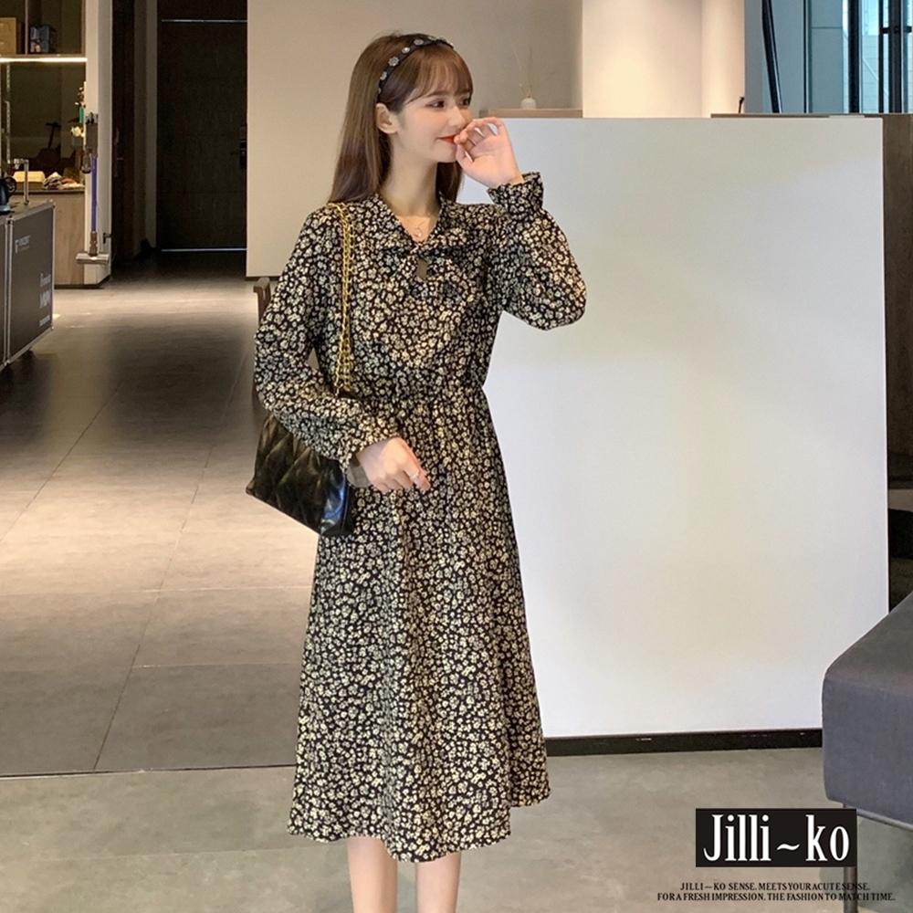 JILLI-KO 厚款碎花大擺連衣裙- 黑/咖啡