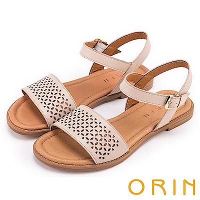ORIN 夏日異國渡假 趣味造型簍空真皮平底涼鞋-米色