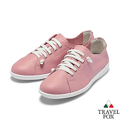 TRAVEL FOX(女) 踏實玩家 超軟牛皮極舒適免綁帶休閒鞋 - 嫩粉