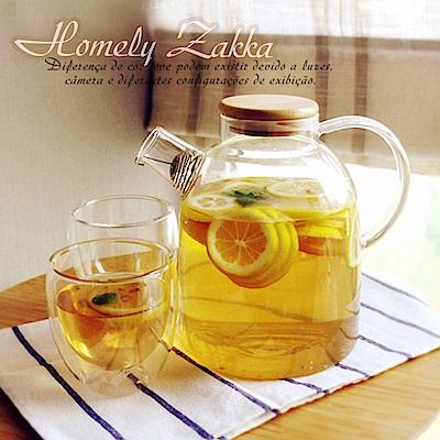 Homely Zakka 午茶食光茶濾短嘴竹蓋玻璃壺/花果茶壼 1800ml