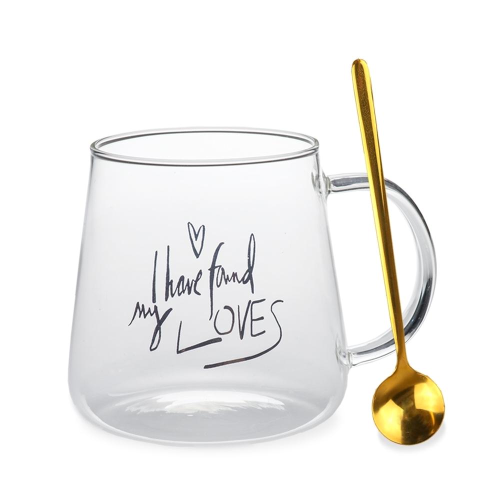 【Caldo卡朵生活】情話綿綿耐熱玻璃馬克杯(快)