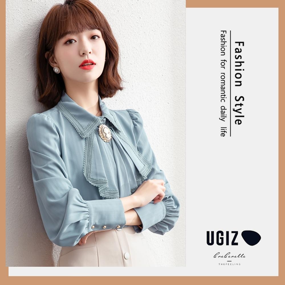 UGIZ-修身氣質翻領蕾絲邊領帶造型上衣-2色(M-XL)