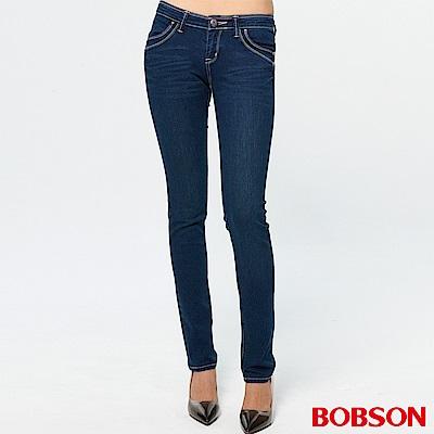 BOBSON 彩線伸縮小直筒褲