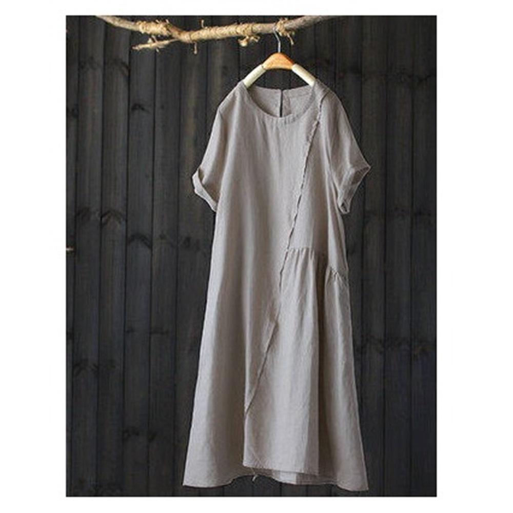 拼接亞麻短袖洋氣棉麻中長洋裝-設計所在