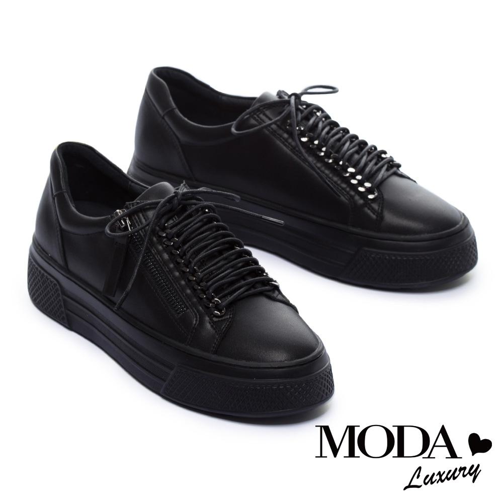 休閒鞋 MODA Luxury 硬朗個性派側拉鍊設計厚底綁帶休閒鞋-黑