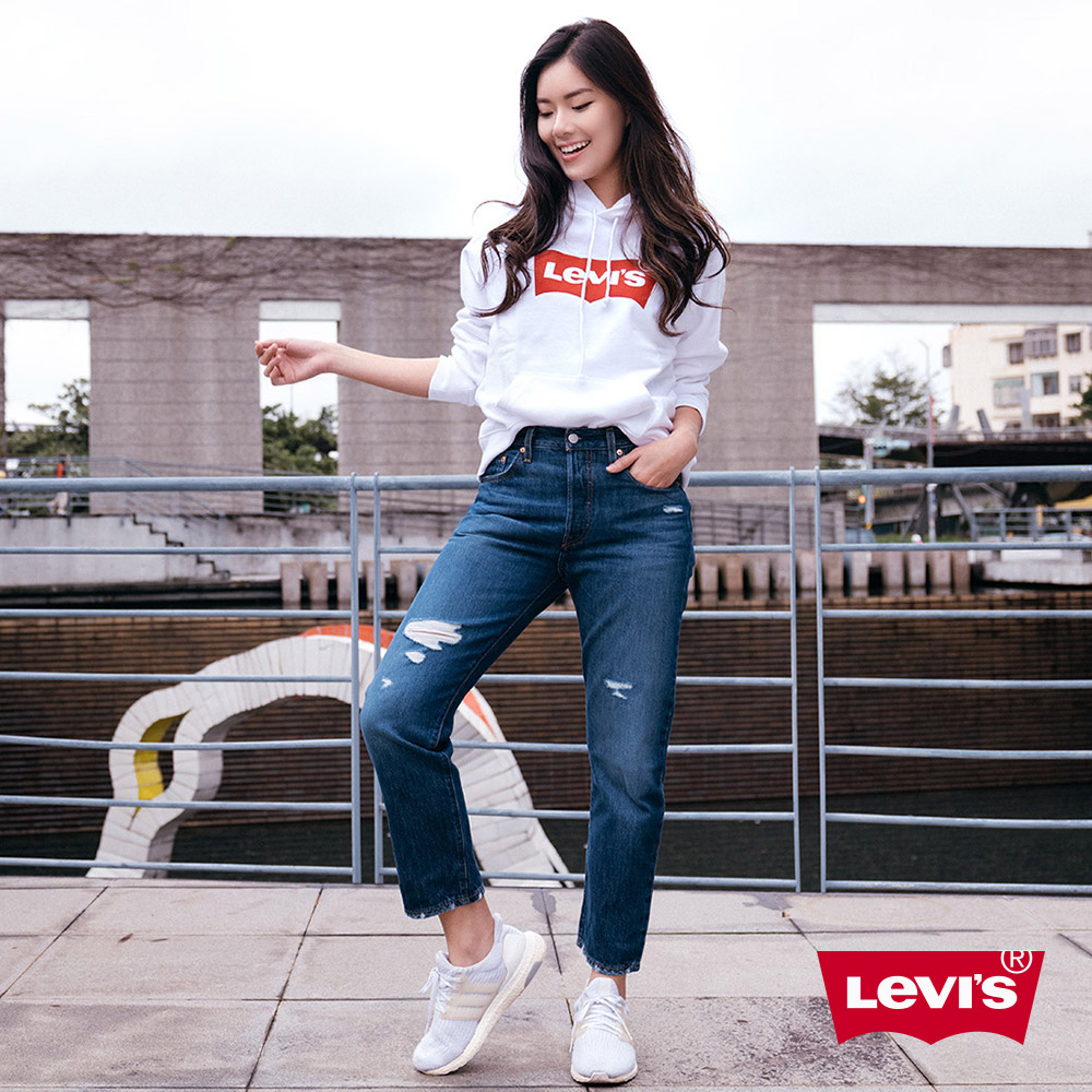 Levis 女款 501Crop高腰排釦直筒牛仔褲 刷破 及踝款