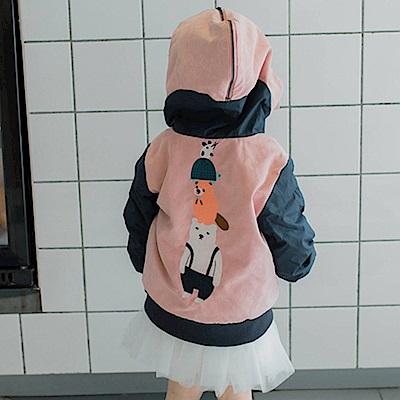 Baby unicorn 粉紅動物內刷毛兩穿式連帽長袖外套
