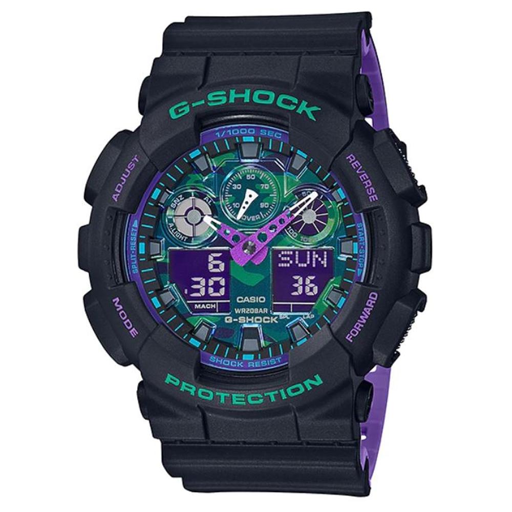 G-SHOCK 90年代復古運動主題霓虹視覺迷彩休閒錶-(GA-100BL-1ADR)51.2mm