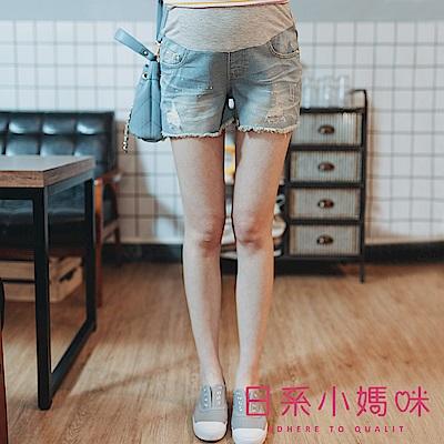 日系小媽咪孕婦裝-孕婦褲~復古潑漆下襬抽鬚牛仔短褲 M-XL