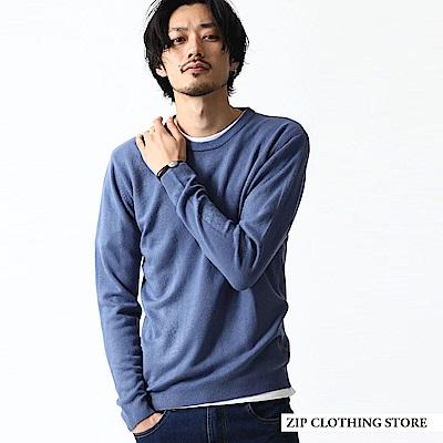 圓領針織衫素面條紋(20色) ZIP日本男裝