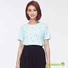 bossini女裝-圓領全版印花上衣04粉綠