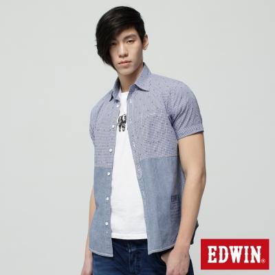 EDWIN 襯衫 剪接配色短袖襯衫-男-藍色