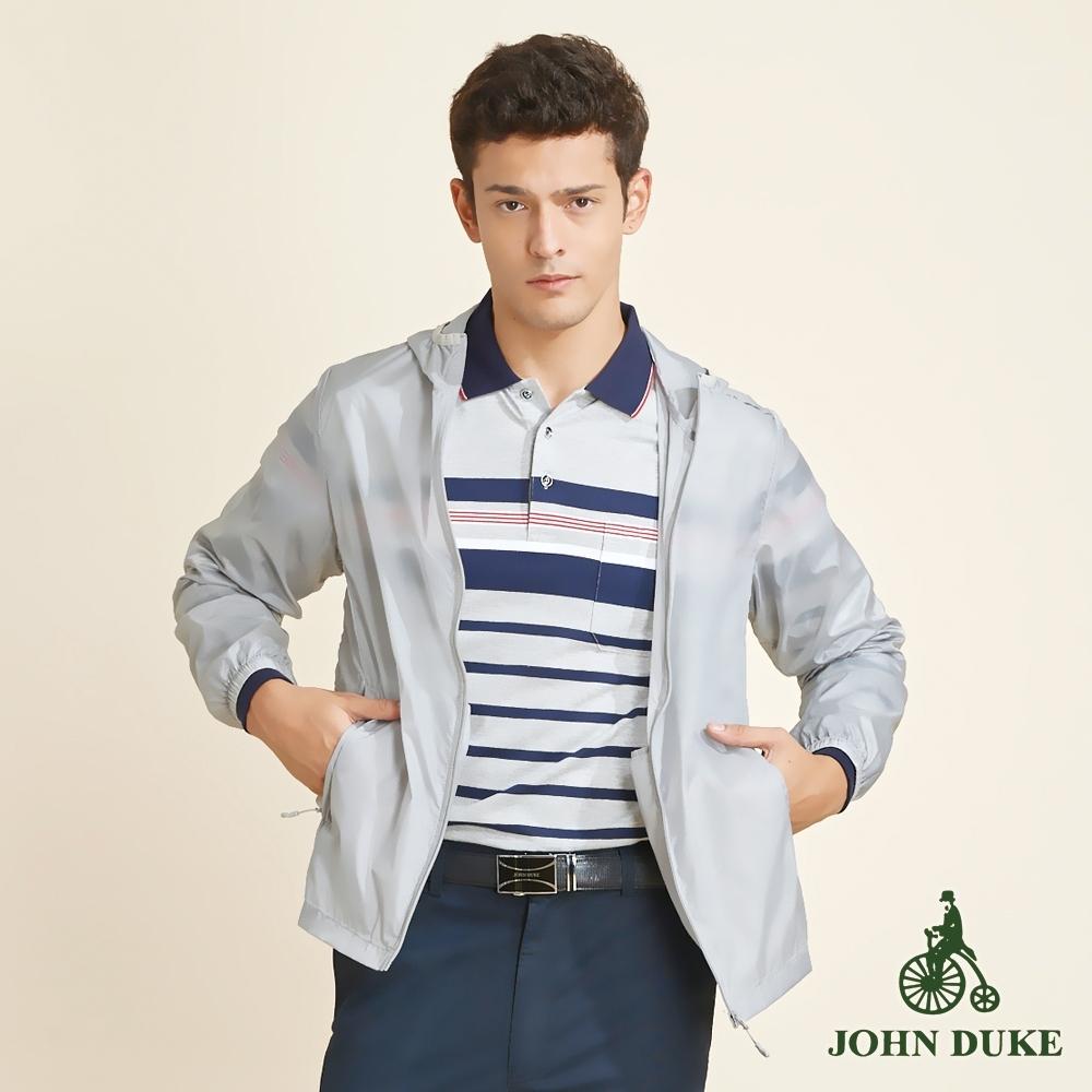 JOHN DUKE約翰公爵抗UV防曬皮膚衣連帽機能薄外套_灰(32-K7202)