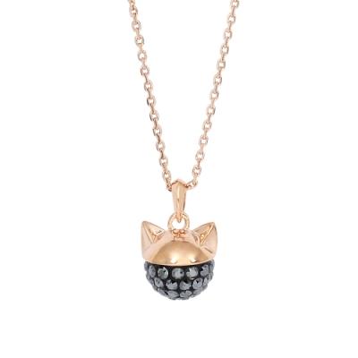 Karl Lagerfeld CHOUPETTE 貓咪水晶造型玫瑰金色項鍊