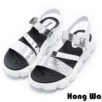 Hong Wa 時尚龜裂紋牛皮鬆糕涼鞋 - 銀