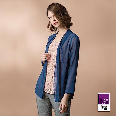 ILEY伊蕾 雪紡造型配色蕾絲假兩件上衣(藍)