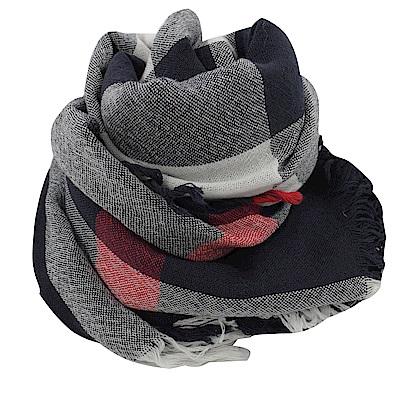 BURBERRY 經典格紋羊毛圍巾/大方金(藍黑)