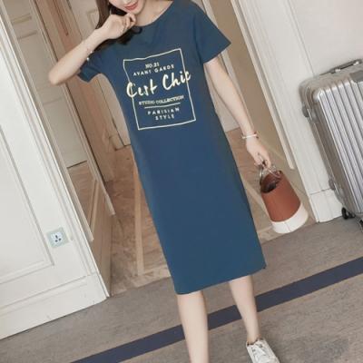 2F韓衣-簡約印花素色短袖造型洋裝-2色(M-2XL)