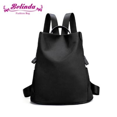 【Belinda】率性輕盈牛皮尼龍後背包(個性黑)
