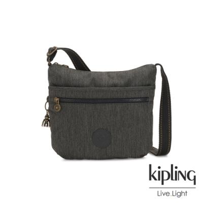 Kipling 復古質感丹寧黑前拉鍊側背包-ARTO