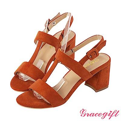 Grace gift X Wei-聯名鏤空T字方釦高跟涼鞋 磚紅