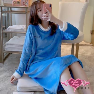 保暖睡衣 樂福自在 法蘭絨一件式長袖連身睡裙(藍F) AngelHoney天使霓裳